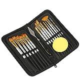 Kesote - Juego de 15 pinceles de pinceles con estuche y esponja negras, perfectos para pintura acrílica al óleo y acuarela
