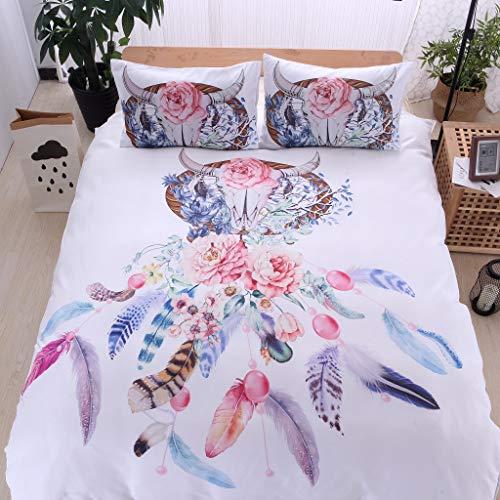 OPALLEY Floral Bunte Dreamcatcher Bettwäsche Set Hipster Böhmischen Stil Bettwäsche Gedruckt Einfache Elegante Super Weiche Tröster Set Mikrofaser Bettbezug (Rost Twin Tröster)