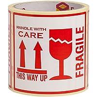 100 Autocollants Fragile avec inscription en anglais This Way Up Handle With Care Autocollants Grande taille 10 x 10 cm White-red