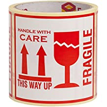 """100 Aufkleber """"Fragile. This Way Up. Handle With Care"""", Etiketten, groß 10 x 10 CM White-red - 100 Stück"""