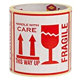 100 Adesivi 'Fragile This Way Up Handle With Care' Adesivi, 10 x 10 cm White-Red