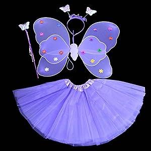 Kasit 4Pcs gesetztes feenhaftes Prinzessin-Schmetterlings-Partei-Kostüm-Flügel-Stab-Stirnband-Kleid-Mädchen-feenhafte Rod-feenhafte Prinzessin-Kostüm-Schule-Erscheinen - purpurrot