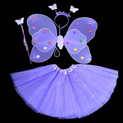 Kasit 4Pcs gesetztes feenhaftes Prinzessin-Schmetterlings-Partei-Kostüm-Flügel-Stab-Stirnband-Kleid-Mädchen-feenhafte Rod-feenhafte Prinzessin-Kostüm-Schule-Erscheinen - purpurrot (Butterfly Princess Mädchen Kostüm)