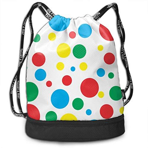 DSGFSQ Sporttaschen Turnbeutel Funny Dance Gift Unisex Drawstring Fashion Beam Backpack Twister Polka Dots Print Backpack Travel Gym Tote Cosmetic Bag -