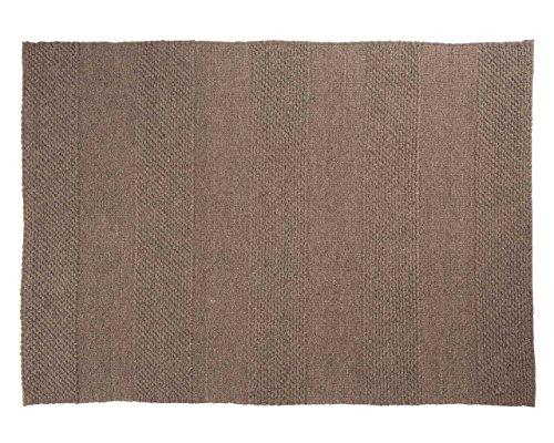 Sukhi Paras: naturbrauner Flachgewebeteppich, Graue Designerteppiche, groß (300cm x 400cm/9' 10.1'' x 13' 1.4'') (Graue Runde Wolle)
