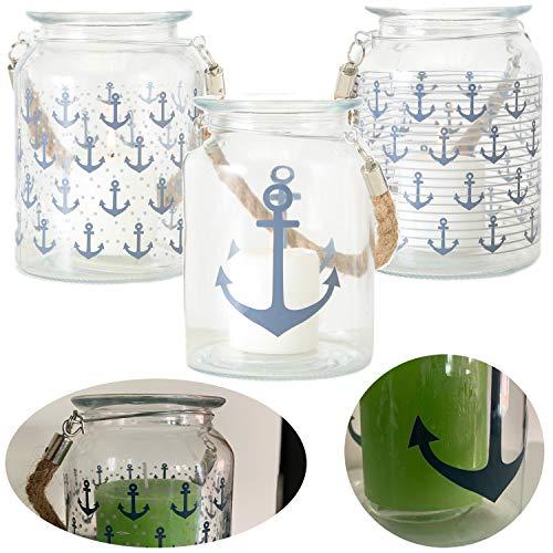 LS-Design Glas Laterne Kerzenhalter Anker Klein 15x11cm Windlicht Teelicht-Halter Anker-gläser