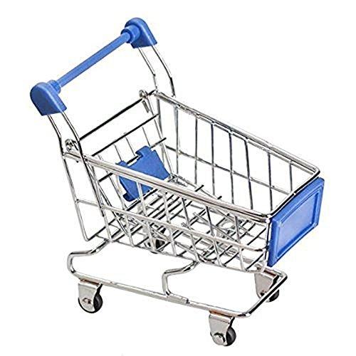 Lanlan Mini Supermarkt Bollerwagen Shopping Mehrzweckwagen Modus Schreibtisch Aufbewahrung Spielzeug, dunkelblau (Push Cart Für Lebensmittel)