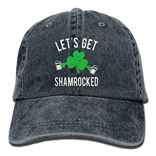 Zhgrong Caps Let's GET Shamrocked St Patty's Day Vintage Washed Dyed Cotton Twill Low Profile Adjustable Baseball Cap Black mesh Cap Twill Mesh Back Cap