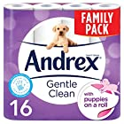 Andrex Gentle Clean Toilet Tissue, Puppies on a Roll, 16 Rolls