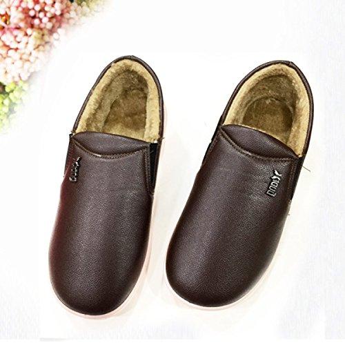 Couples Coton Chaussures Hiver 2017 Nouvelle Couleur Pure En Cuir Chaud Chaussures Hommes Et Femmes Pu Anti-dérapant Coton Pantoufles Gros Accueil,Yellow-brown Brown