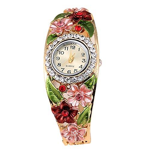 Gosear Frauen Lady Mode Blume Lässige Partei Quarz Armband Handgelenk Uhr Armbanduhr C (Damen-uhr Storage)