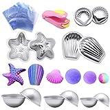Formen-Kit für Badebomben von Yotako, Metallformen, 6Sets, 12Stück mit 50Schrumpffolienbeutel und 1Mini-Folienschweißgerät zur Herstellung von Badebomben, handgemachten Seifen und Kunstwerken