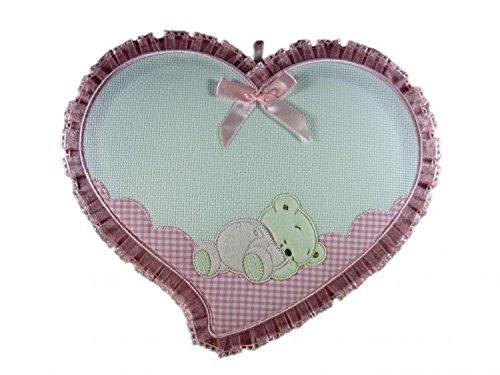 Fiocco nascita cuore con orsetto inserto in aida da ricamare a punto croceda ricamare il nome del bebe' rosa lavorato del tutto a mano