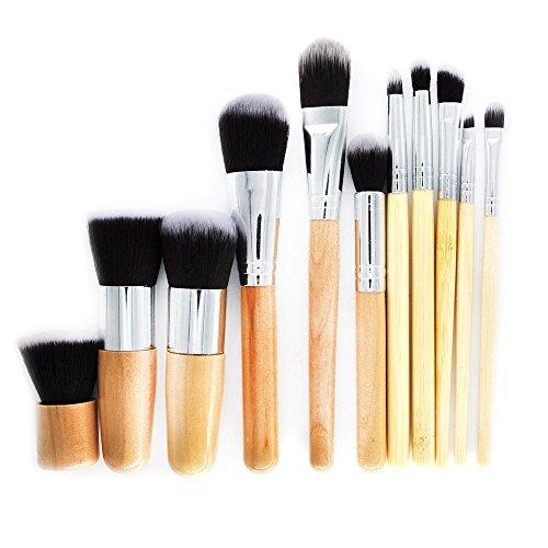 SODIAL 11 PCS Pinceaux de maquillage naturels en bambou avec Sac Cosmetiques Professionnels Eyeliner brosse Kit Doux Kabuki Fondation Melange Outil