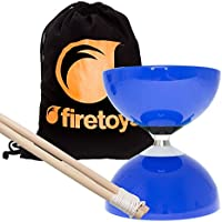 Blue Carousel - Fast Bearing Diabolo Set, Hardwood Diablo Sticks, Pro String & Firetoys® Bag!