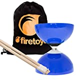 Blue Carousel - Fast Bearing Diabolo Set, Hardwood Diablo Sticks, Pro String & Firetoys® Bag!
