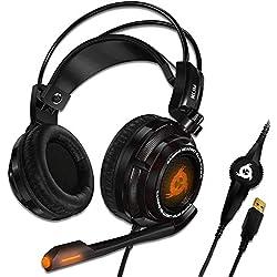 KLIMTM Puma - Micro Casque Gamer - Son 7.1 - Audio Très Haute Qualité - Vibrations Intégrées - Confortable - Parfait pour Gaming PC et PS4 - Nouvelle Version 2020 - Noir