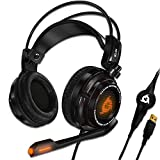KLIM Puma Gaming Headset - USB 7.1 Kopfhörer - Integrierte Vibrationen - Mikrofon - Für PC Mac PS4 Laptop Games - Over Ear Gamer Headphones - Noise Cancelling Microphone [ Neue 2020 Version ] Schwarz