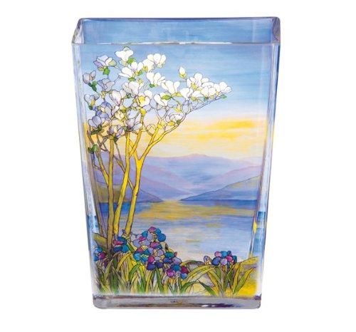 Casa Padrino Handgearbeitete Vase aus Tiffany Glas mit wunderschönem Motiv, Höhe 20 cm - feinste Qualität aus der Tettau Porzellanfabrik - Tiffany-glas-vase