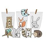 DIY Adventskalender Set zum Basteln und selber Befüllen - Waldtiere - mit weißen Tüten - Klammern - Tiermotiven - Geschenk