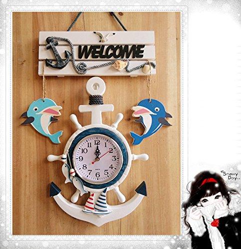 HUANGYAHUI Wecker Wanduhr Holz- Anker Steuermann Wohnzimmer Wände Marine Uhr Kinderzimmer Dekor, Kleine, Mit Fisch (Nicht Stumm Geschaltet) (Kleine Jungs-wand-dekor)