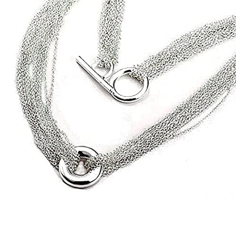 Layered Multi Row/Strand Chains & Circle Necklace With Toggle/T-Bar Clasp - 16