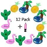 Aoutacc Schwimmende Getränkehalter, 12er Pack aufblasbare Palme Flamingos Ananas Kaktus...