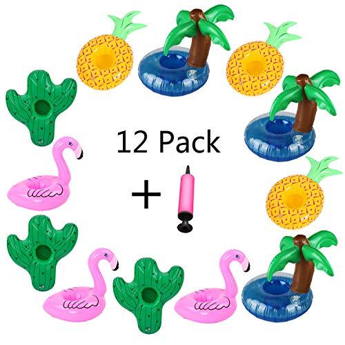 Aoutacc Contenitori per Bevande galleggianti, 12 pacchi di Palma Gonfiabile Fenicotteri Ananas Cactus Drink Cup titolari Pool Cup Holders Sottobicchieri per Summer Pool Party e Kids Fun Bath Toys