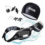 QHUI Schwimmbrille 100% UV-Schutz Wasserdicht Anti-Beschlag-Spiegel Dichter Verschluss Silikonband mit