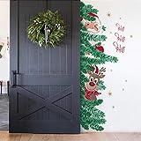 decalmile Stickers de Porte Noël Père Noël Rennes Fenêtre Autocollant Mural Decoration de Noël