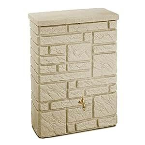 regentonne regenspeicher maurano 300 liter farbe sandstein aus uv und witterungsbest ndigem. Black Bedroom Furniture Sets. Home Design Ideas