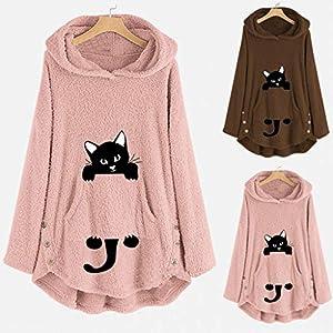 AmyGline Jacke Damen Kapuzenpullover Fleece Mantel Plüsch Schön Katze Stickerei Warme Hoodie Pullover Sweatshirt…