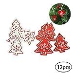 DDG EDMMS Albero di Natale 12pcs Ciondolo Appeso in Legno Legno Natale Albero di Natale Vacanza in Famiglia Decorazioni per Le Feste e Le Decorazioni della Decorazione di Natale