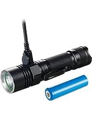 Torche LED rechargeable, lampe torche LED Akale USB, 500LM, avec modes Clip 4 Utiliser 18650 piles pour camping extérieur Randonnée pédestre et utilisation d'urgence