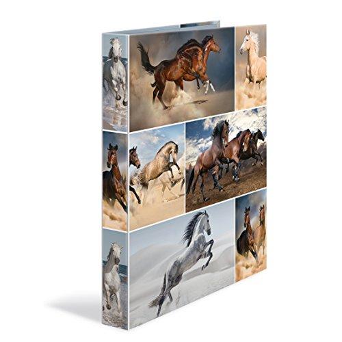 Herma 19429 Ringbuch DIN A4 mit Tiere Motiv Pferde, Karton, 2 Ringe, 35 mm Rückenbreite, schmal, flexibel, leicht, 1 Ringbuchmappe