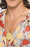 Herren Gold Medaillon Halskette Gangster Zuhälter BLING HIPPIE Hippy Kostüm Kleid Outfit Zubehör