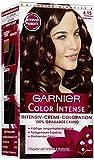 Garnier Color Intense, 4.15 Schokobraun, Dauerhafte Intensive Creme Coloration für permanente Haarfarbe (mit Perlmutt und Traubenkernöl) 3er Pack (3 x 1 Stück)
