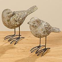 2 Figuras Pájaros en Marrón Claro Decoración Hogar Resina Sintética Variados 11cm