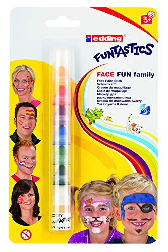 Edding 47 Funtastics Face Fun - Schminkstift - 7 Farben - Ideal für Körperbemalungen von kindern und Erwachsenen