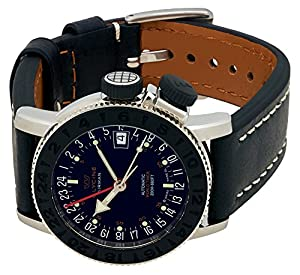 Glycine Airman 18 Sphair Automatic GMT World Timer Steel Mens Strap Watch 3928.191 LB9B de Glycine