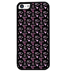 Printvisa Diamond Shaped Pink And Black Pattern Back Case Cover for Apple iPhone 5C