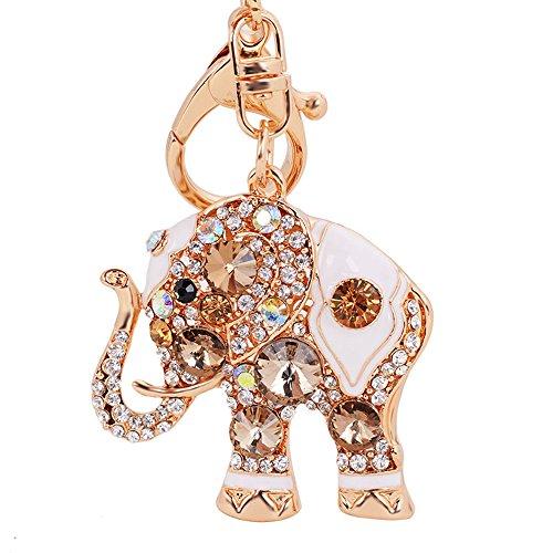 Luxus-Elefant Schlüsselanhänger Handtasche hanging Schnalle Wallet Accessories Schlüsselanhänger (Champagner)-Samtlan (Strass-schnalle Handtasche)
