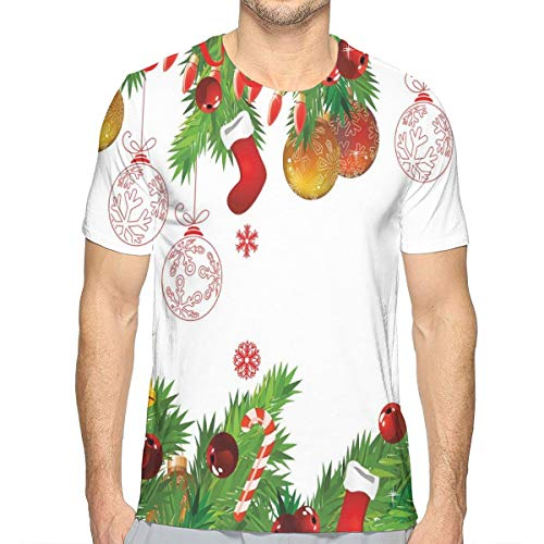Candy Shop Tee Top (3D Printed T Shirts,Fir Branches Pattern New Year Elements Colorful Baubles Socks and Candy Canes XXL)