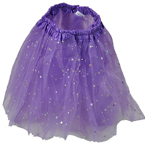 Tutu Skirt – Princess Girl's Pettiskirt Dress-Up Tutu Tulle Skirt / Mini Skirt For Ballet Dance Photography Prop Costume Outfit Party Dance wear ~ 30 cm Length ~ 46 - 86 cm Waist (18-34 inches ) (Purple Stars)  available at amazon for Rs.299