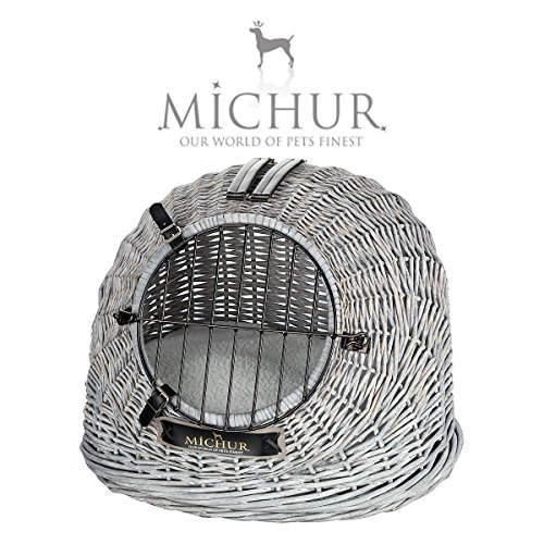 MICHUR Cosma Nordseedüne, Hundetransportbox, Katzentransportbox, Katzen Transport Box Weidekorb, Tier Transportbox, Katzenbox Hundebox WEIDE, Rattan, Box, Korb, ca. 50x40x40cm