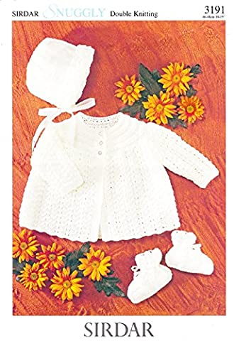 Sirdar Knitting Pattern 3191, Baby Trio - Matinee Coat, Bonnet & Bootees, Sizes 46-48cm 18-19
