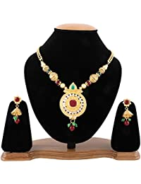 Jewels Galaxy Exclusive Elegant Pearl & Kundan Designer Gold Plated Necklace Set For Women