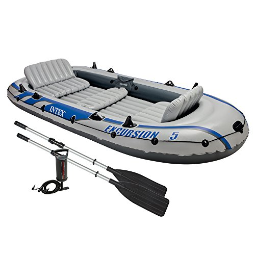 Intex Excursion 5 - Set de barco hinchable y 2 remos, 366 x 168 x 43 c