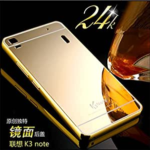 Goon Shopping High Quality Luxury Mirror Back Case Cover With Metal Bumper For Lenovo A7000-Gold