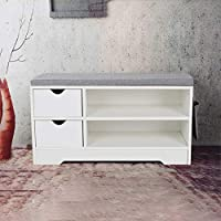 Shoe Rack Bench Storage 2 Tier 1 Cabinet 45 x 30 x 80 cm,White shoe cabinet with Seat and Grey Cushion Hallway Bedroom Living room Furniture
